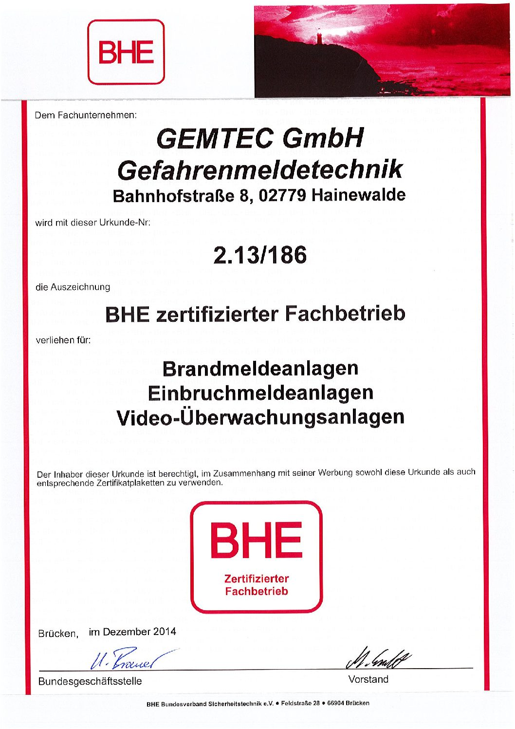BHE-Zertifikat EMA, BMA, Video