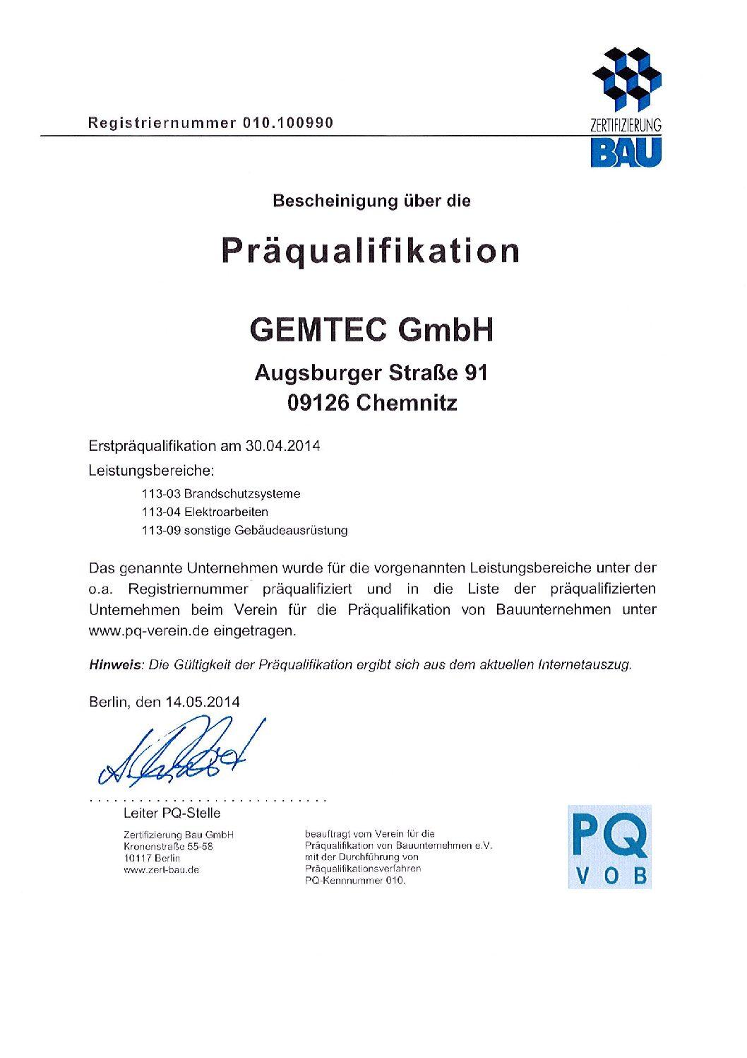 Präqualifizierung Chemnitz