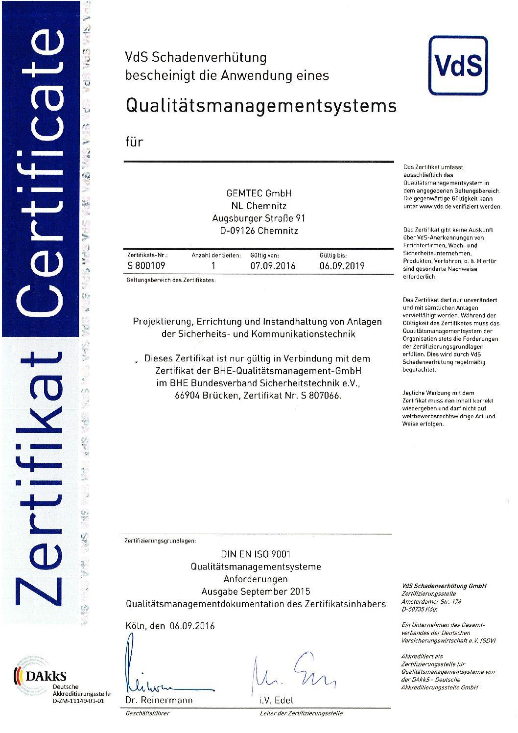 ISO 9001 Chemnitz
