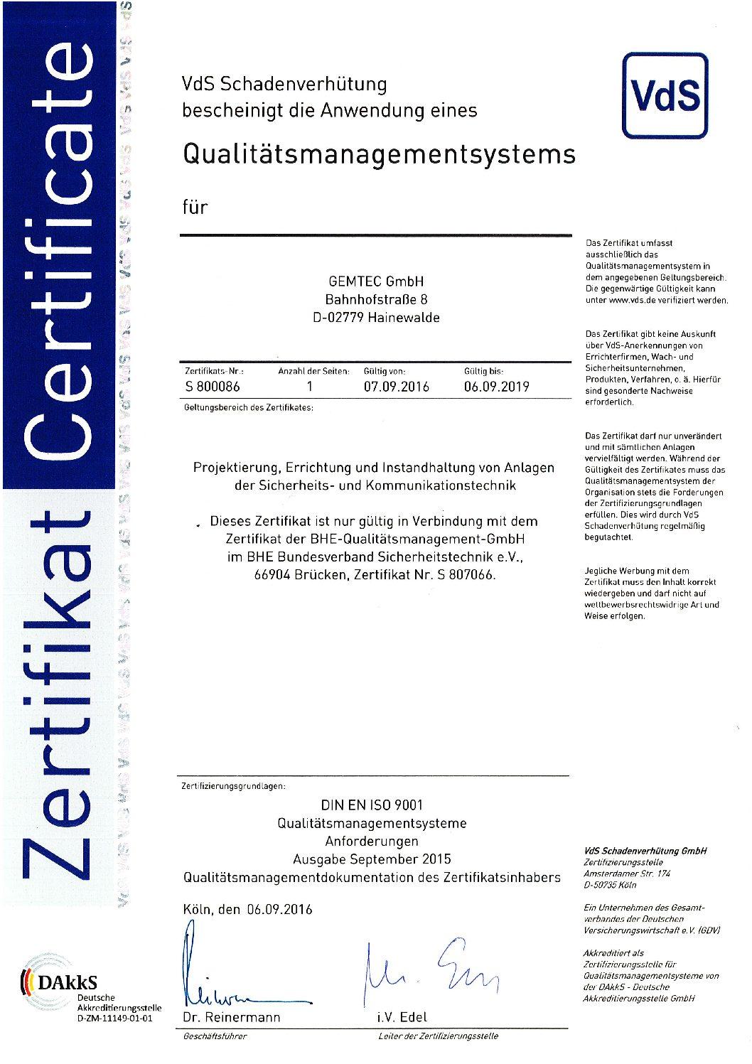ISO 9001 Hainewalde