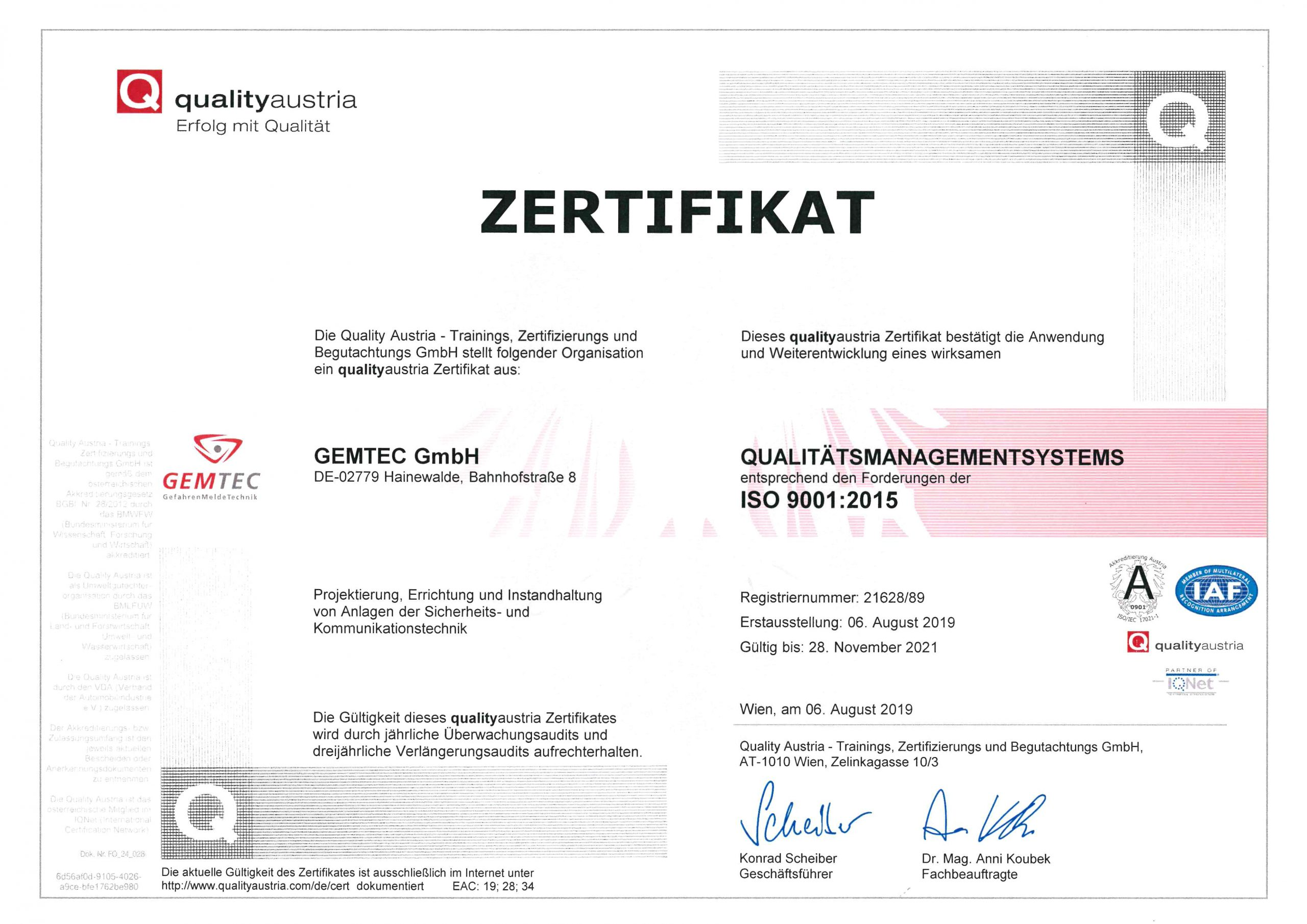 ISO 9001:2019-2021